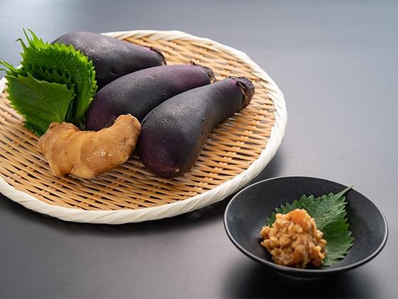 金山寺味噌と茄子と生姜